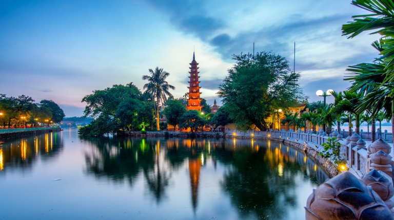 Scenic view of West Lake and Tran Quoc Pagoda, Hanoi, Vietnam