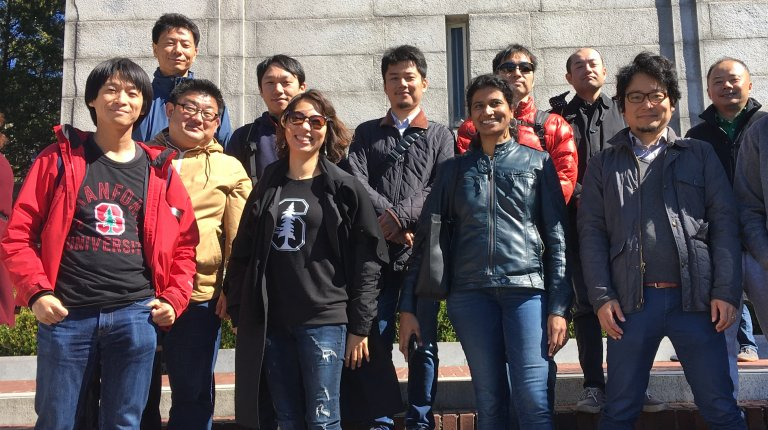 Global Affiliate visiting fellows (2017-18 cohort) posing for the camera during a visit to UC Berkeley. Photo credit: Denise Masumoto.