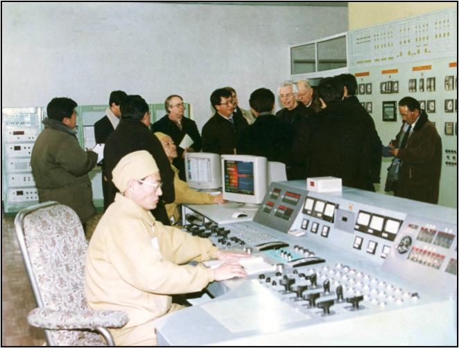 Stanford delegation at the 5MWe reactor control room at the Yongbyon Nuclear Center in January 2004.
