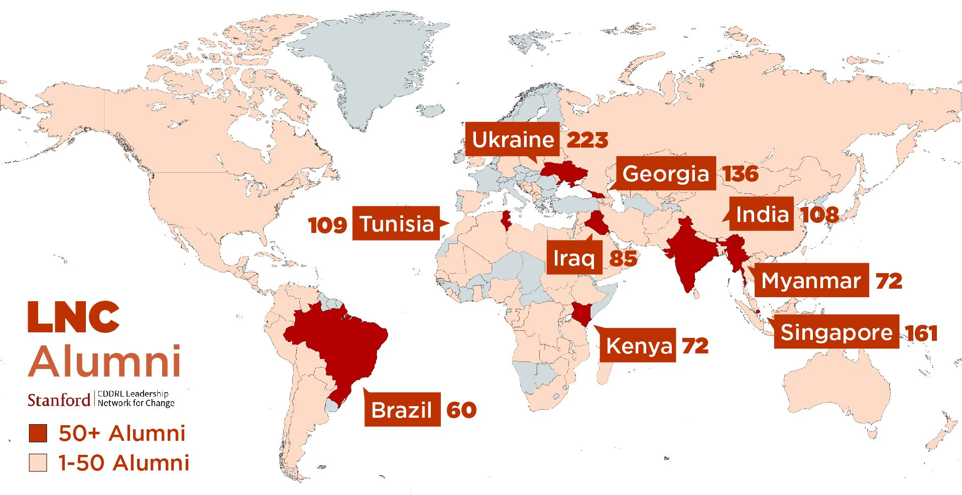 Alumni by country map