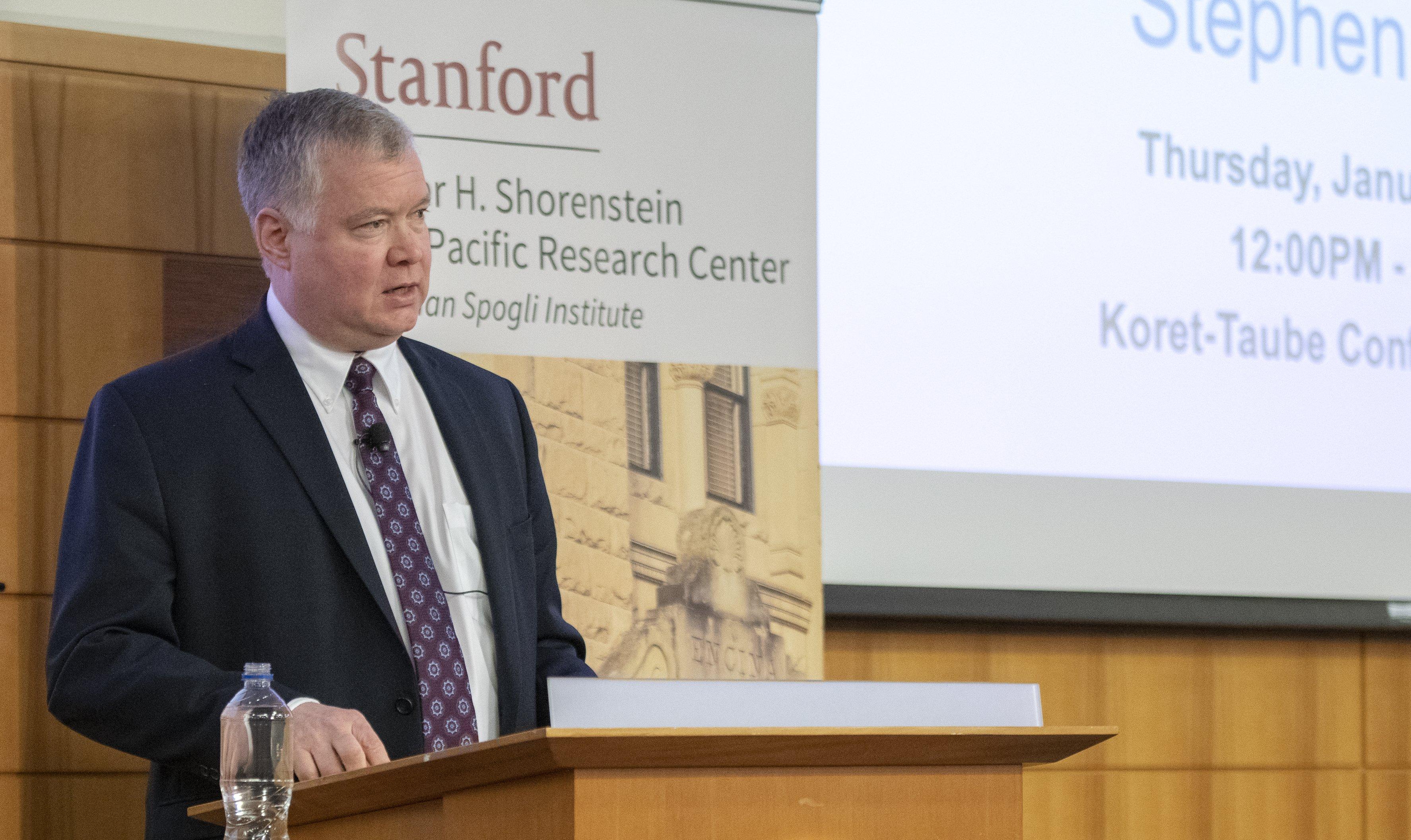 Stephen Biegun delivers remarks at Stanford at a Shorenstein APARC event.