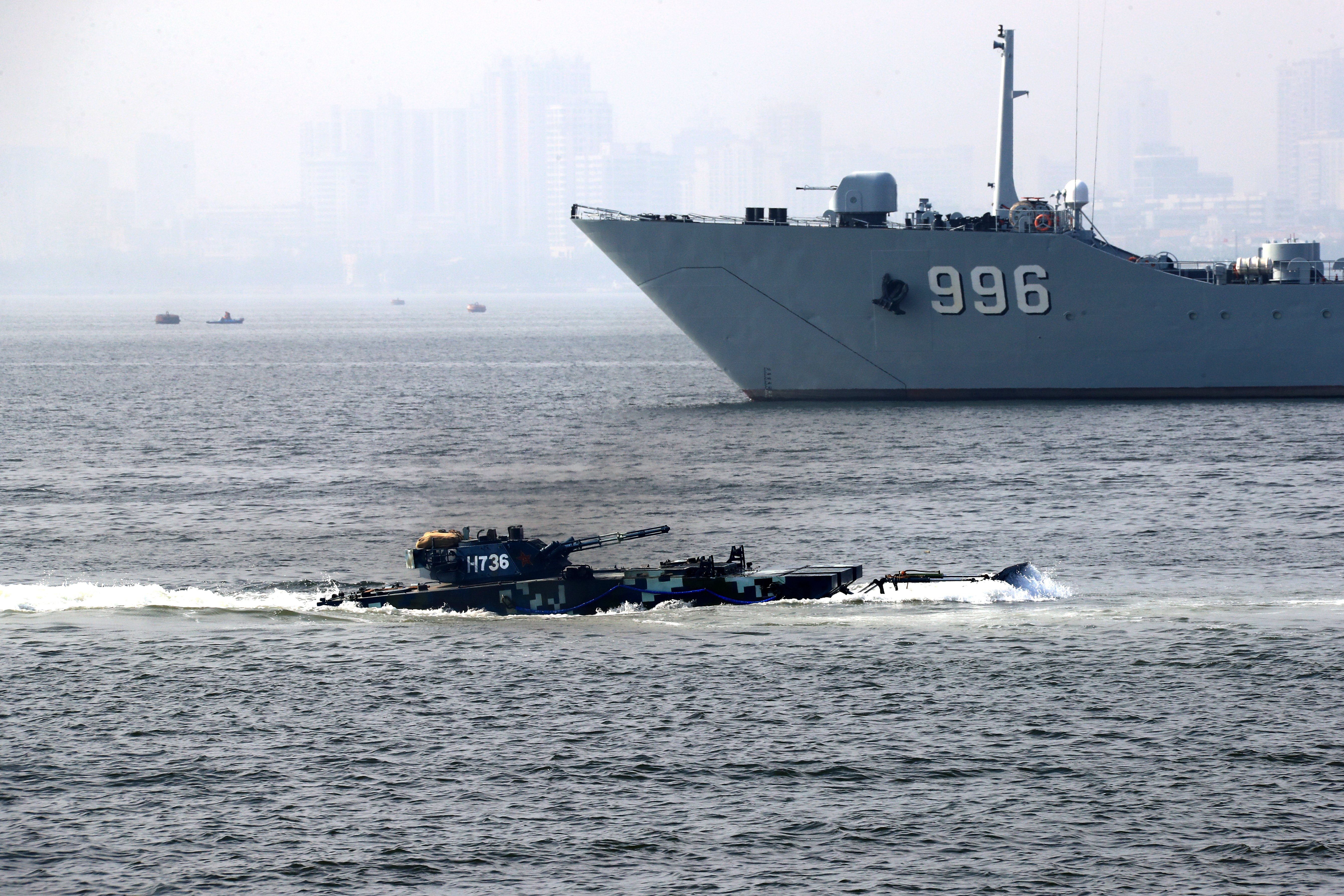 The marines of China navy participate in the annual military training on January 3, 2018 in Zhanjiang,