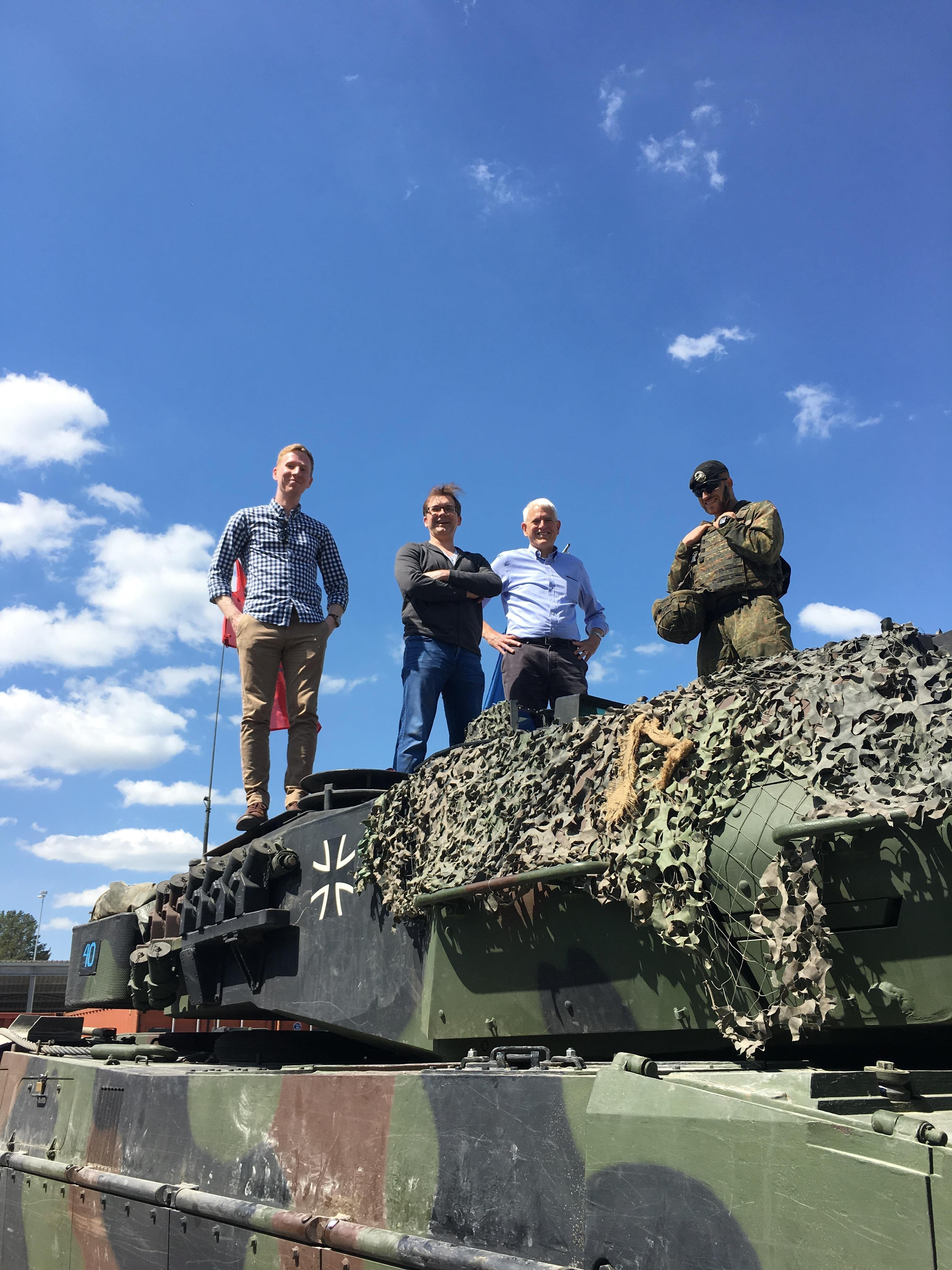 Connor McPartland (Atlantic Council), Chris Skaluba (Atlantic Council) and Steve Pifer (Stanford/CISAC) atop Leopard II tank, part of German contribution to NATO battlegroup in Lithuania.