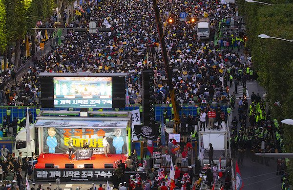 Opposing political rallies converge in South Korea