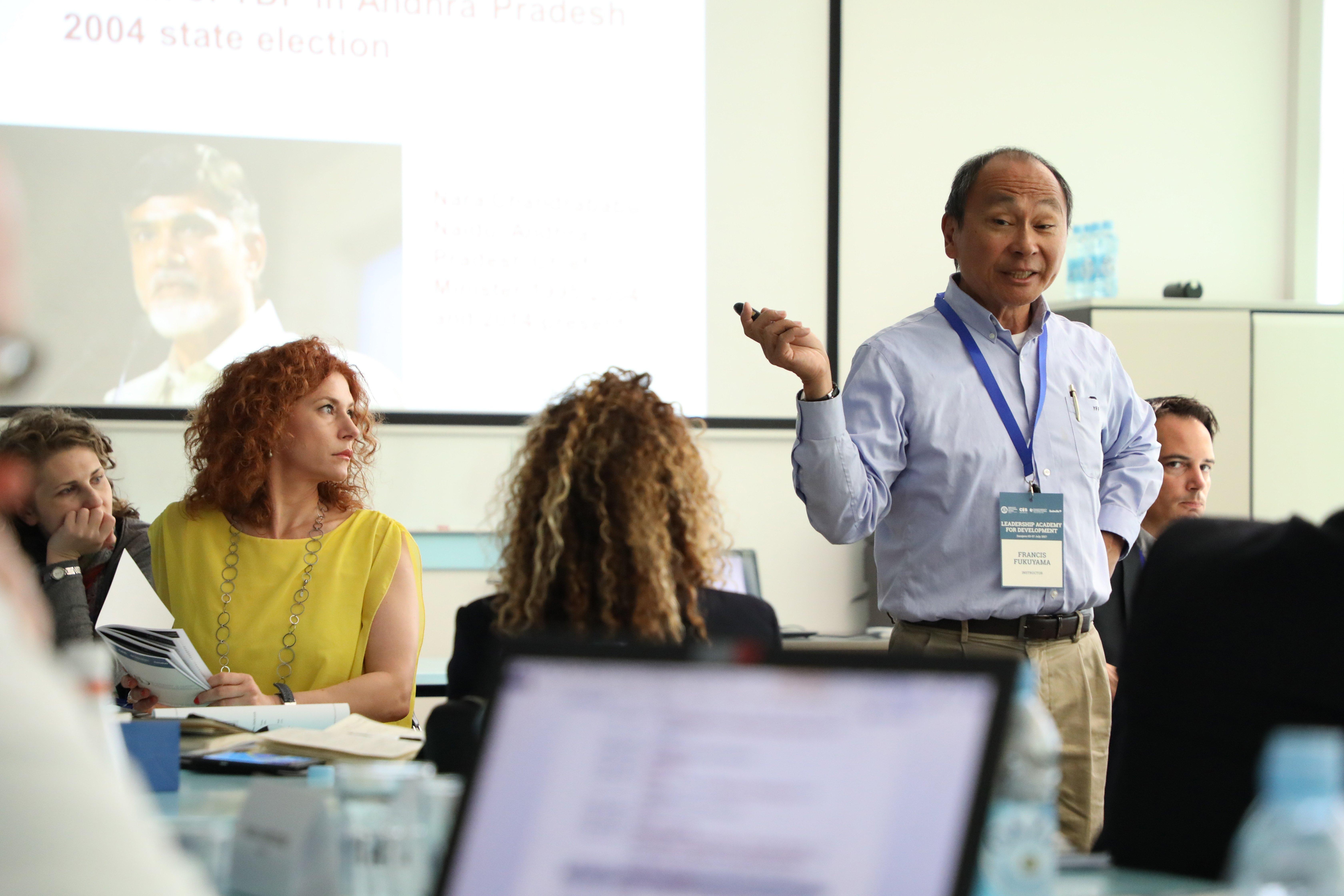 Fukuyama teaching a workshop