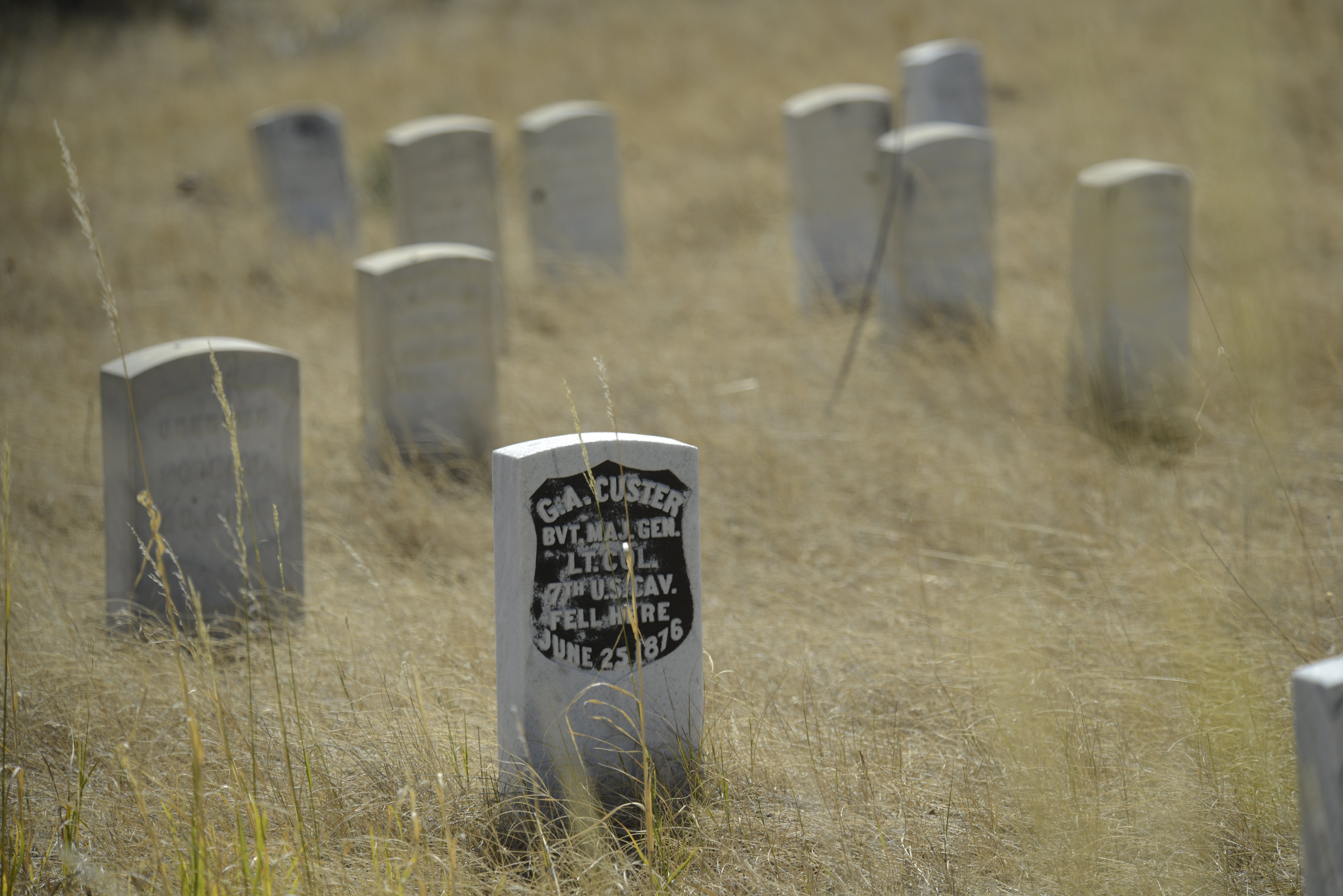 The grave marker for Gen. George Armstrong Custer on Last Stand Hill at the Little Bighorn.