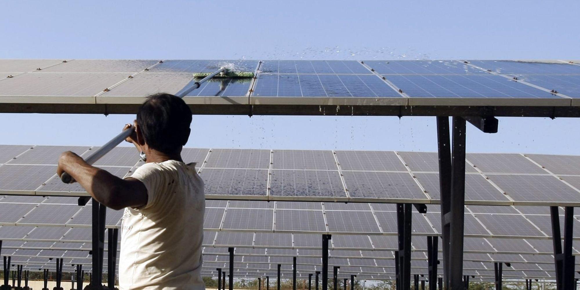 Solar panel cleaning headliner