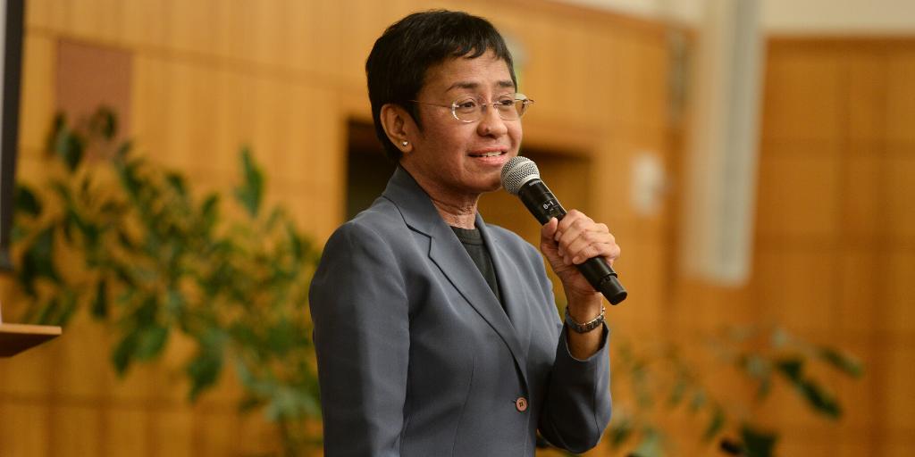 Maria Ressa speaking at Stanford