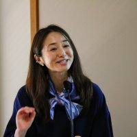 Rie Kusakiyo makes opening remarks at Stanford e-Tottori Day. She is Advisor for Educational Affairs at the Consulate General of Japan in San Francisco.