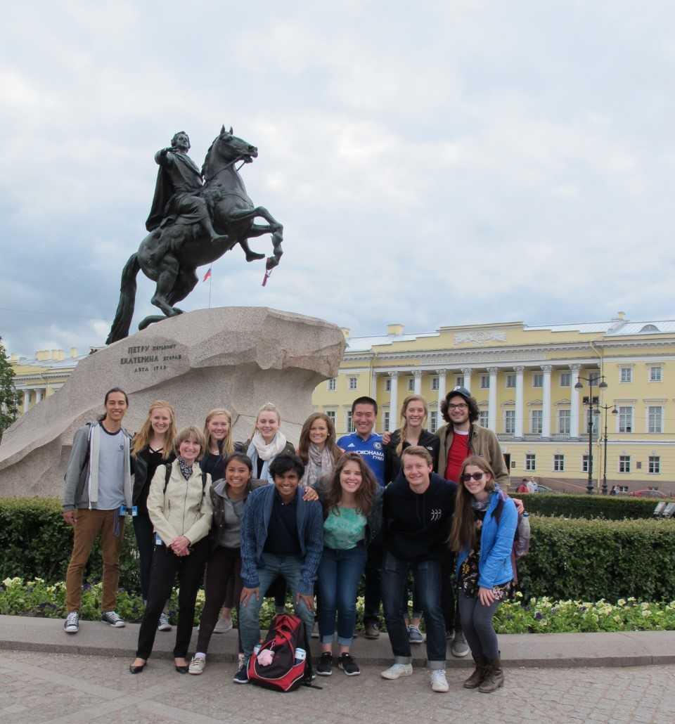 Nancy Kollmann with students in Russia