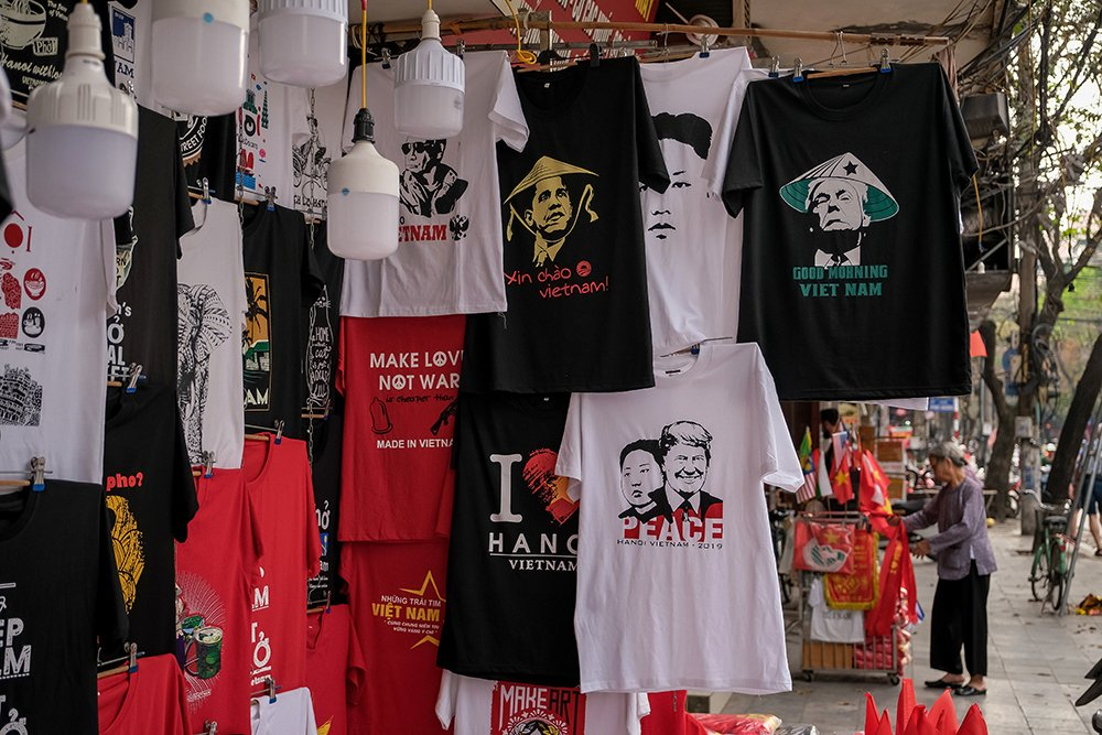 T-shirts with Trump and Kim for sale in Vietnam
