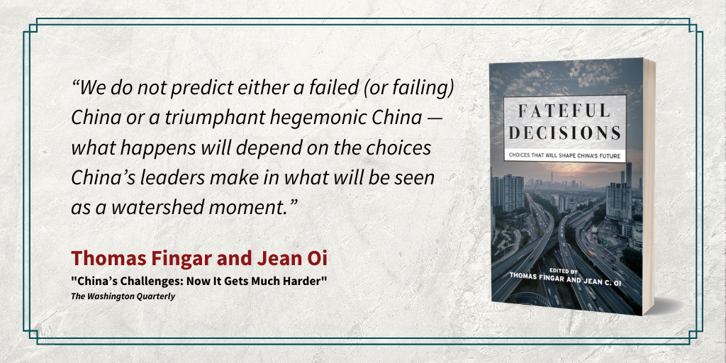 """Quote from Thomas Fingar and Jean Oi from, """"China's Challeges: Now It Gets Much Harder"""""""