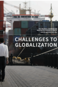"Cover of APARC 2015-16 annual report , ""Challenges to Globalization,"" shows a man standing before huge ships at a port"