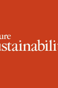 "The words ""nature sustainability"" on a red background"
