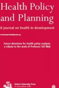 healthpolicyandplanningcover