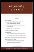 Image of the front cover of the Journal of Finance