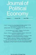 Journal of Political Economy cover image