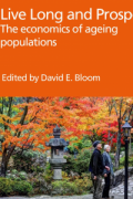 "Cover of the book ""Live Long and Prosper?"" that shows two senior citizens walking in a Asian garden in autumn."