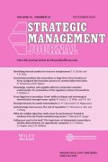Cover of volume 43.13 of Strategic Management Journal