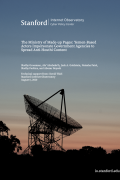 """cover of """"ministry of made up pages"""" report showing title of report and image of the Stanford satellite dish"""