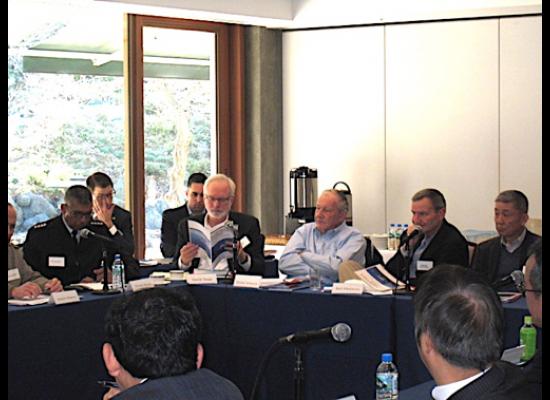 General Vincent Brooks, Commander, UNC/CFC/USFK; Ambassador David Shear; Ambassador Michael Armacost; and Workshop Co-Hosts Ambassador Karl Eikenberry and Lieutenant General, (Retired) Noboru Yamaguchi