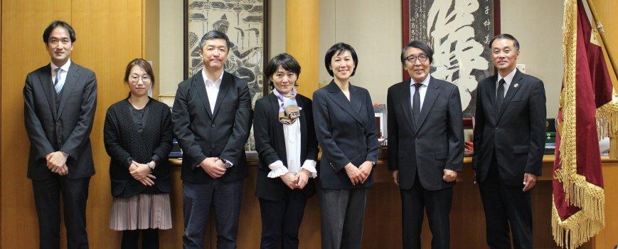 Stanford-Hiroshima Collaborative Program on Entrepreneurship (SHCPE) staff with Ken-ichi Nakamura, President of the Prefectural University of Hiroshima