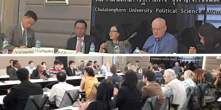 Panelists and participants at a public forum held at Chulalongkorn University