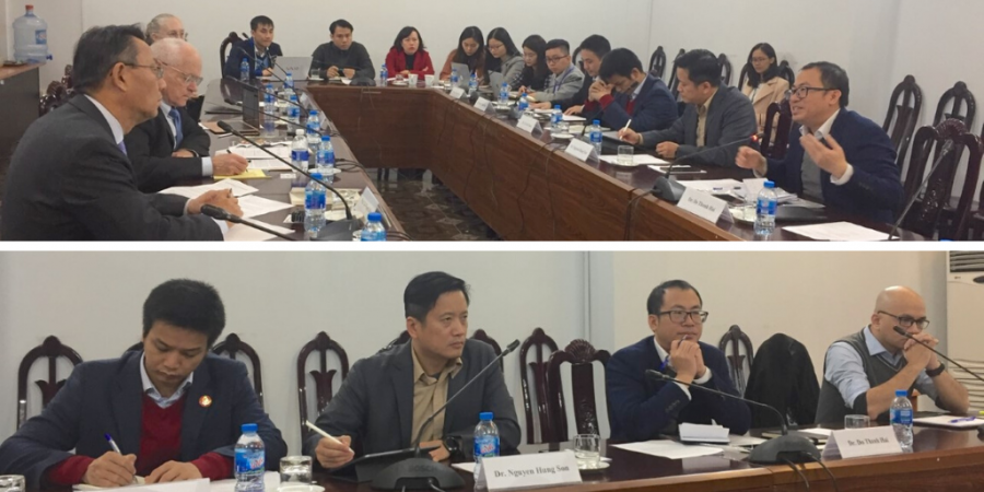 Participants at a roundtable held at the Diplomatic Academy of Vietnam with APARC delegation members