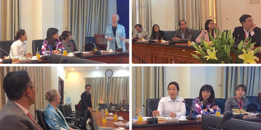 Collage of four images showing participants at a roundtable held at Hanoi Medical University with APARC delegation members