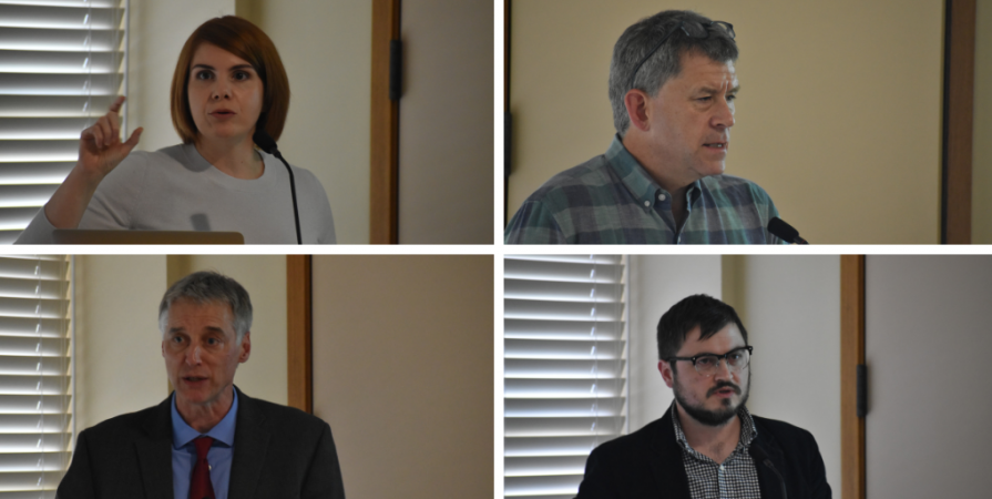 From top left, clockwise: Lauren Hansen Restrepo, James Millward, Darren Byler and Gardner Bovingdon speaking at a panel at APARC.