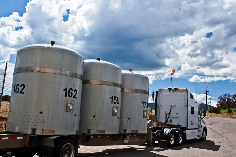 A shipment of transuranic waste from the defense industry heads for long-term storage at the Waste Isolation Pilot Plant in this photo from 2012.