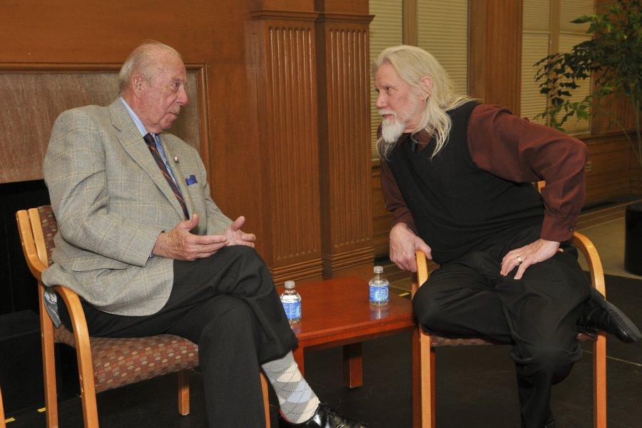 Whitfield Diffie (right) listens to former U.S. Secretary of State George Shultz (left) during an event at Stanford's Center for International Security and Cooperation.