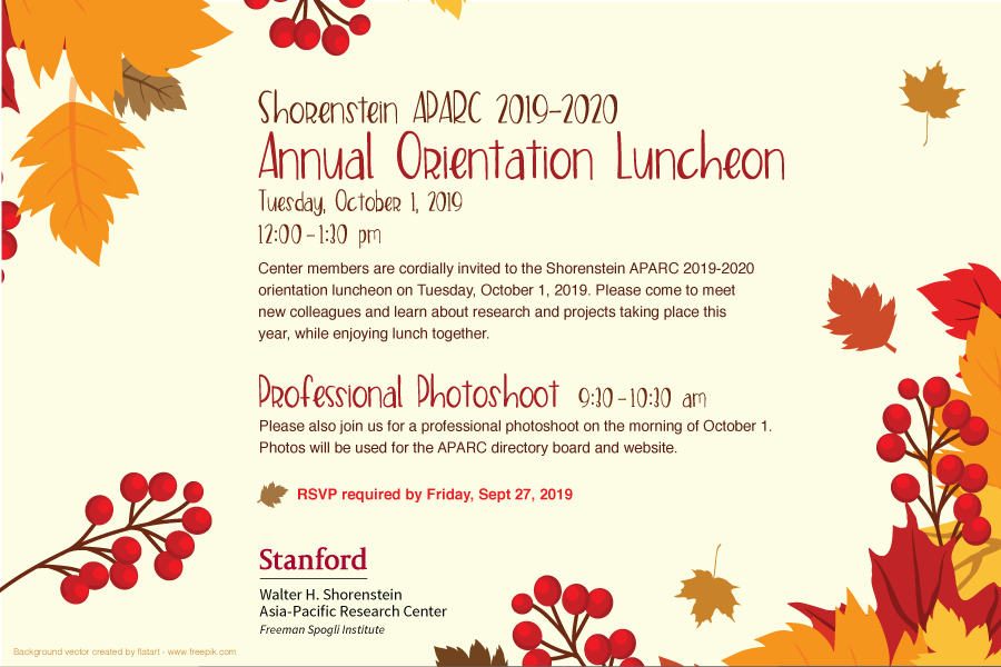 Shorenstein APARC 2019-2020 Annual Orientation Luncheon