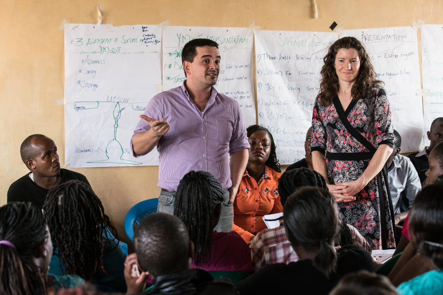 Rosenkranz Prize 2017 winner Mike Baiocchi and his partner, Clea Sarnquist, both of Stanford Medicine, conduct research on the ground in Nairobi, Kenya, to determine whether a rape prevention program is truly making a difference.