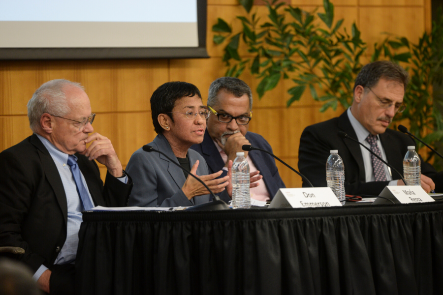 2019 Shoresntein Journalism panelists, from left to right: Donald K. Emmerson, Maria Ressa, Raju Narisetti, Larry Diamond.