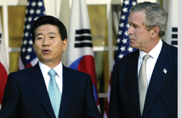 "Book cover of ""Peace on a Knife's Edge"" showing South Korean president Roh Moo-hyun alongside George W. Bush and Kim Jong-il"