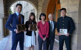Honorees of the first Stanford e-Japan cohort in 2015, Stanford e-Japan instructor Waka Takahashi Brown, and SPICE director Gary Mukai. The honorees are Seiji Wakabayashi, Hikaru Suzuki, and Haruki Kitagawa.