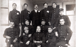Waseda University Baseball Team at Stanford University, 1905; courtesy, Waseda University.