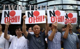 South Koreans hold anti-Japanese rally In Seoul.