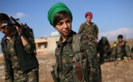 Female Kurdish Soldier in Syria