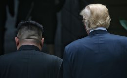 Trump and Kim with Backs to Camera