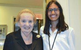 Kendra Mysore, '20, with former U.S. Secretary of State Madeleine Albright in Washington, D.C.