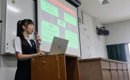 Renee Ohnuki giving her final presentation for Stanford e-Japan