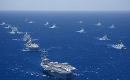 """Ships and submarines participating in the Rim of the Pacific (RIMPAC) 2012 exercise are underway in close formation during the Rim of the Pacific (RIMPAC) 2012 exercise."""