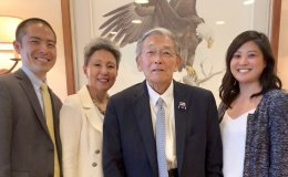Norman Mineta and Rylan Sekiguchi with Mineta Legacy Project staff at the Reagan Library