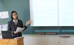Stanford e-Japan honoree Sakura Hayakawa presents her final research paper at her school
