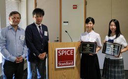 High school student honorees Yua Kodani and Ayaka Ikei with Jonas Edman and Takuya Fukushima at the inaugural Stanford e-Tottori Day.