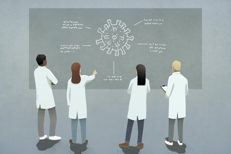 Illustration of researchers studying a cell
