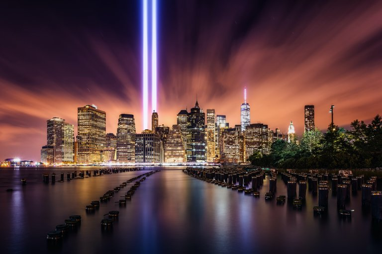 Lights where the World Trade Center towers used to stand.