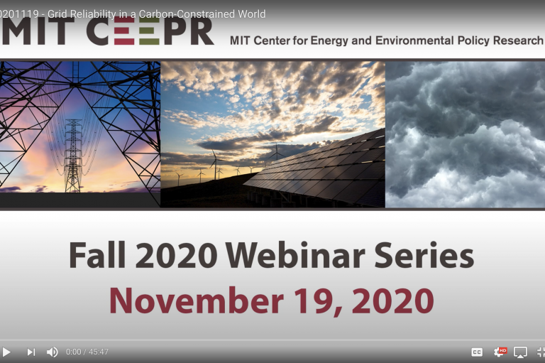 Screen shot of MIT CEEPR's Nov 19, 2020 Fall 2020 Webinar Series discussion on grid reliability in a carbon-constrained world